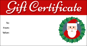 Templates for christmas gift certificates free